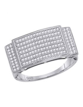 10KT WHITE GOLD ROUND PAVE-SET DIAMOND RECTANGLE CLUSTER RING 1/2 CTTW