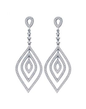 14kt White Gold Womens Round Diamond Oval Dangle Earrings 1-1/5 Cttw