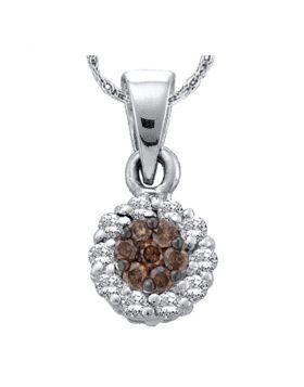 14k White Gold Cognac-brown Color Enhanced Flower Cluster Diamond Womens Pendant 1/4 Cttw