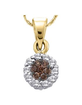 14k Yellow Gold Womens Cognac-brown Color Enhanced Diamond Flower Cluster Circle Pendant 1/2 Cttw