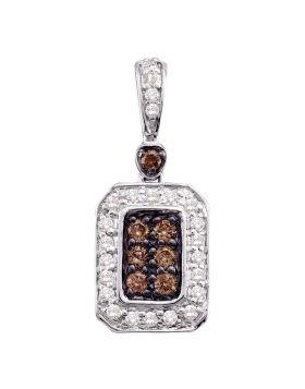 10kt White Gold Womens Round Cognac-brown Color Enhanced Diamond Rectangle Cluster Pendant 1/4 Cttw