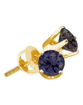 Sterling Silver Unisex Black Color Enhanced Diamond Yellow-tone Screwback Stud Earrings 3/4 Cttw