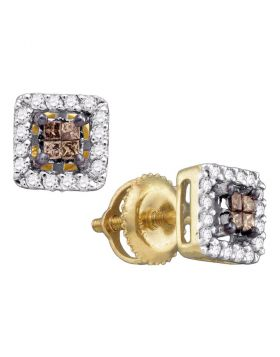 14k Yellow Gold Womens Cognac-brown Color Enhanced Princess Diamond Stud Square Screwback Earrings 1/3 Cttw