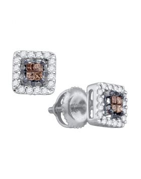 14k White Gold Womens Cognac-brown Color Enhanced Princess Diamond Stud Square Screwback Earrings 1/3 Cttw