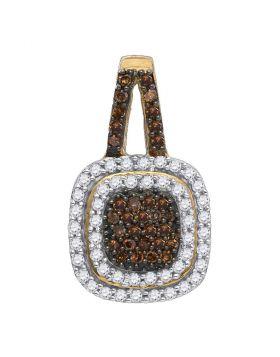 10kt Yellow Gold Womens Round Cognac-brown Color Enhanced Diamond Square Frame Pendant 1/2 Cttw