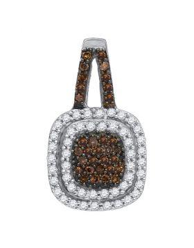 10kt White Gold Womens Round Cognac-brown Color Enhanced Diamond Square Frame Pendant 1/2 Cttw