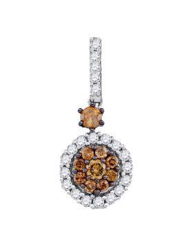 14kt White Gold Womens Round Cognac-brown Color Enhanced Diamond Cluster Pendant 1/2 Cttw