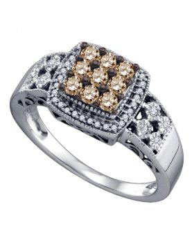 10kt White Gold Womens Round Brown Color Enhanced Diamond Square Cluster Ring 1/2 Cttw