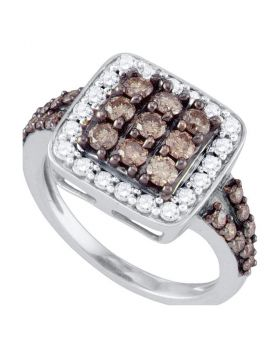 10k White Gold Womens Cognac-brown Diamond Square Cluster Cocktail Ring 1-5/8 Cttw