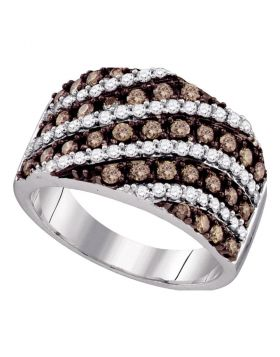 10kt White Gold Womens Round Cognac-brown Color Enhanced Diamond Striped Band Ring 1-1/3 Cttw