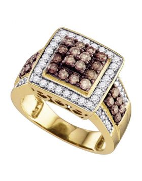 10kt Yellow Gold Womens Round Cognac-brown Color Enhanced Diamond Square Cluster Ring 1-1/2 Cttw