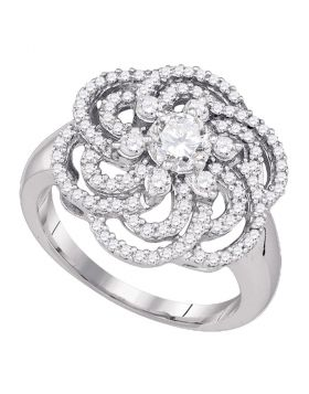 10kt White Gold Womens Round Diamond Flower Cluster Ring 1.00 Cttw