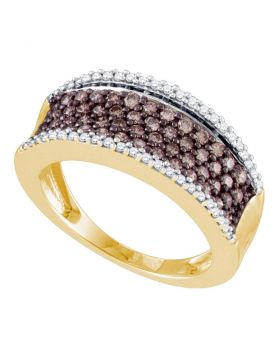 10kt Yellow Gold Womens Round Cognac-brown Color Enhanced Diamond Band Ring 3/4 Cttw
