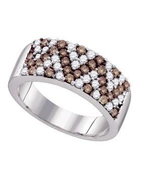 10kt White Gold Womens Round Cognac-brown Color Enhanced Diamond Chevron Band Ring 1.00 Cttw