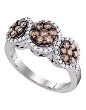 10kt White Gold Womens Round Cognac-brown Color Enhanced Diamond Cluster Ring 1.00 Cttw