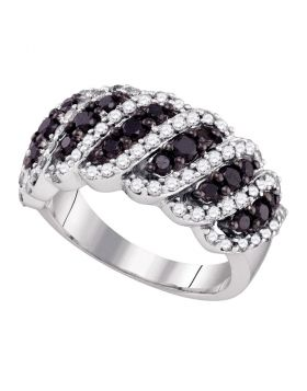 10kt White Gold Womens Round Black Color Enhanced Diamond Striped Band Ring 1-1/2 Cttw