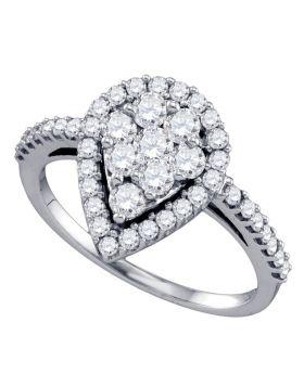 10k White Gold Round Diamond Teardrop-shape Cluster Engagement Anniversary Bridal Ring 1.00 Cttw