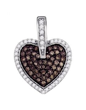 10kt White Gold Womens Round Cognac-brown Color Enhanced Diamond Framed Heart Cluster Pendant 1/2 Cttw