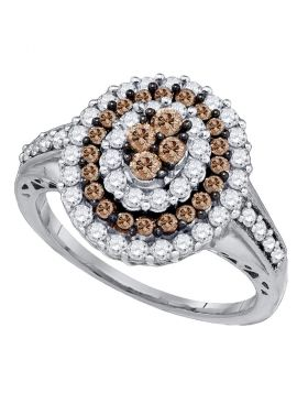 10kt White Gold Womens Round Cognac-brown Color Enhanced Diamond Oval Cluster Ring 1.00 Cttw