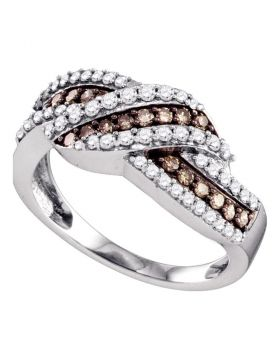 10kt White Gold Womens Round Cognac-brown Color Enhanced Diamond Crossover Band Ring 3/4 Cttw