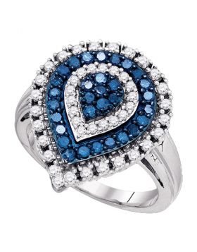 10kt White Gold Womens Round Blue Color Enhanced Diamond Teardrop Cluster Ring 1.00 Cttw