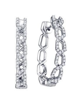 10k White Gold Womens Round Diamond Woven Hoop Earrings 1/2 Cttw