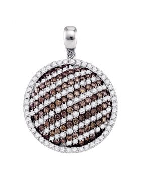 10kt White Gold Womens Round Cognac-brown Color Enhanced Diamond Circle Stripe Pendant 2.00 Cttw