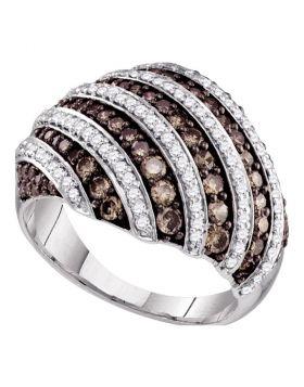 10kt White Gold Womens Round Brown Color Enhanced Diamond Stripe Fashion Ring 1-1/3 Cttw