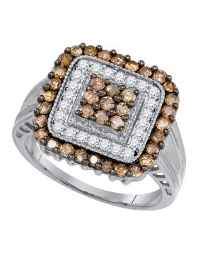 10kt White Gold Womens Round Cognac-brown Color Enhanced Diamond Square Cluster Ring 1.00 Cttw