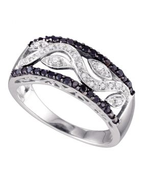10kt White Gold Womens Round Black Color Enhanced Diamond Floral Band Ring 1/2 Cttw
