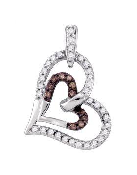 10kt White Gold Womens Round Cognac-brown Color Enhanced Diamond Heart Pendant 1/4 Cttw