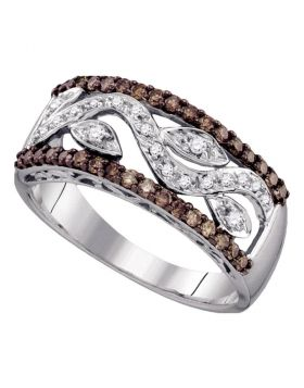 10kt White Gold Womens Round Cognac-brown Color Enhanced Diamond Floral Band Ring 1/2 Cttw