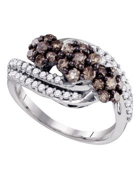 10kt White Gold Womens Round Cognac-brown Color Enhanced Diamond Cluster Ring 7/8 Cttw