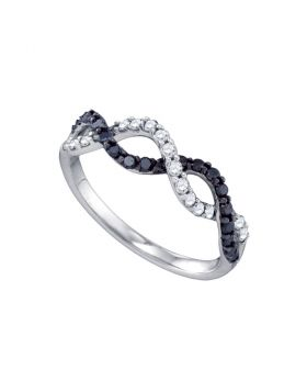 10kt White Gold Womens Round Black Color Enhanced Diamond Woven Band Ring 1/2 Cttw
