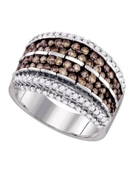 10kt White Gold Womens Round Brown Color Enhanced Diamond Band Ring 1-1/2 Cttw