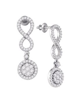 10kt White Gold Womens Round Diamond Cluster Dangle Infinity Earrings 1-1/4 Cttw