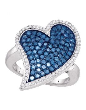 10kt White Gold Womens Round Blue Color Enhanced Diamond Large Heart Cluster Ring 1-3/8 Cttw