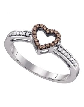 10kt White Gold Womens Round Cognac-brown Color Enhanced Diamond Simple Heart Ring 1/10 Cttw