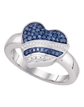 10kt White Gold Womens Round Blue Color Enhanced Diamond Striped Heart Ring 1/3 Cttw