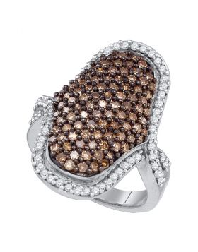 10kt White Gold Womens Round Brown Color Enhanced Diamond Wide Cocktail Ring 1-3/4 Cttw