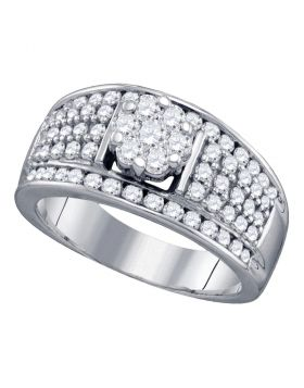 10kt White Gold Womens Round Diamond Flower Cluster Fashion Ring 1.00 Cttw
