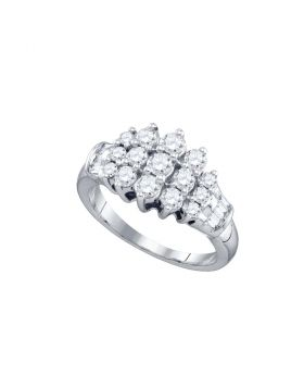 10kt White Gold Womens Round Diamond Cluster Fashion Ring 7/8 Cttw
