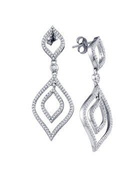 10kt White Gold Womens Round Diamond Dangle Earrings 3/4 Cttw