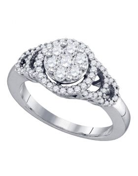 10kt White Gold Womens Round Diamond Cluster Ring 3/4 Cttw
