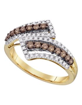 10kt Yellow Gold Womens Round Cognac-brown Color Enhanced Diamond Band Ring 1/2 Cttw