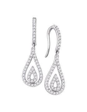 10kt White Gold Womens Round Diamond Teardrop Dangle Earrings 1/2 Cttw
