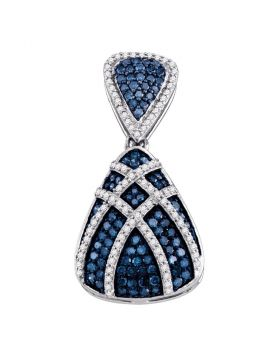 10kt White Gold Womens Round Blue Color Enhanced Diamond Teardrop Stripe Cluster Pendant 1.00 Cttw