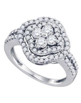 14kt White Gold Womens Round Diamond Quatrefoil Cluster Ring 1.00 Cttw