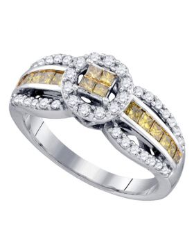 14kt White Gold Womens Princess Yellow Color Enhanced Diamond Cluster Ring 3/4 Cttw