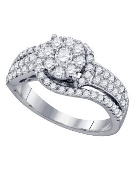 10kt White Gold Womens Round Diamond Cluster Ring 7/8 Cttw